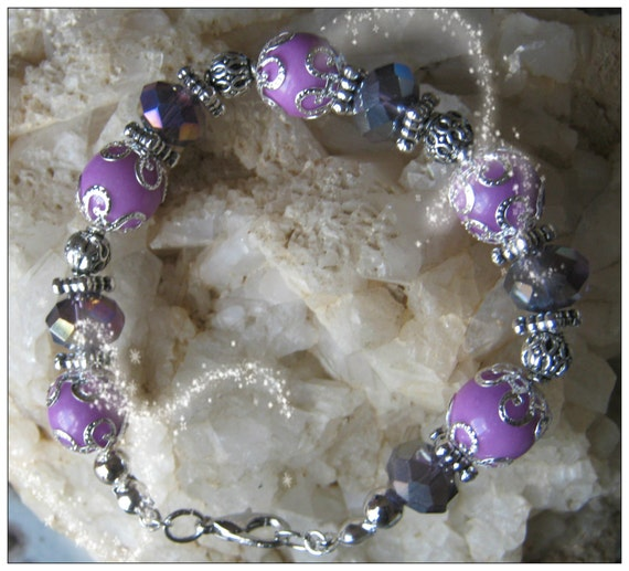 Handmade Silver Bracelet with Purple Jade & Facetted Crystal by IreneDesign2011