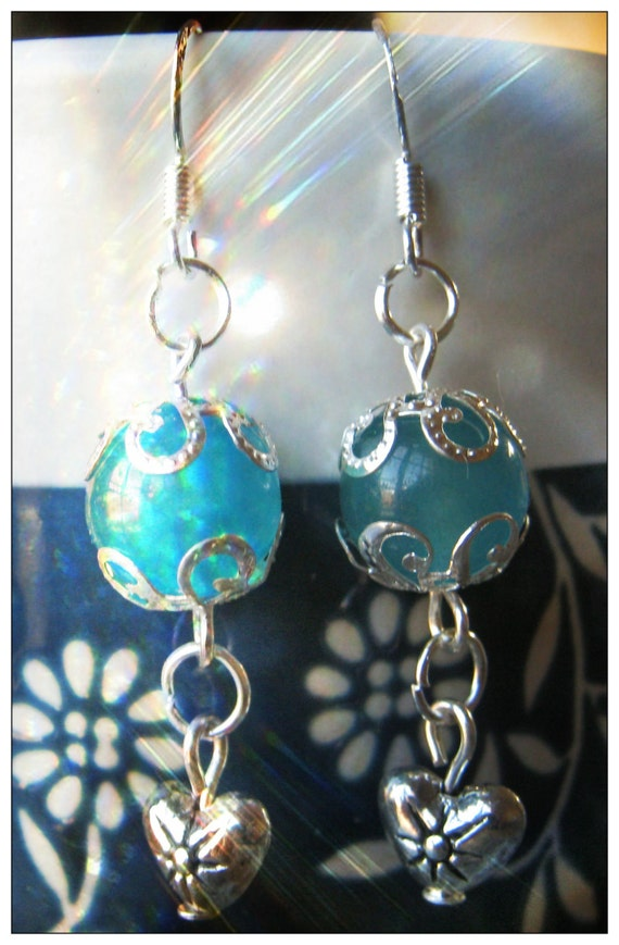 Handmade Silver Earrings with Blue Topaz & Heart