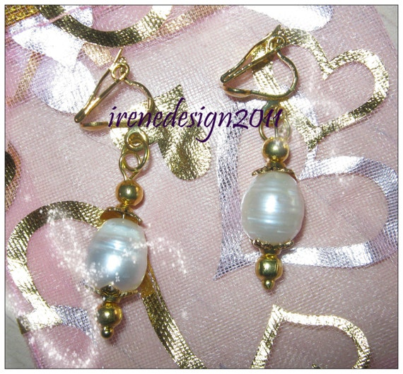 Handmade Gold Clip-On Earrings with White Sea Pearl by IreneDesign2011