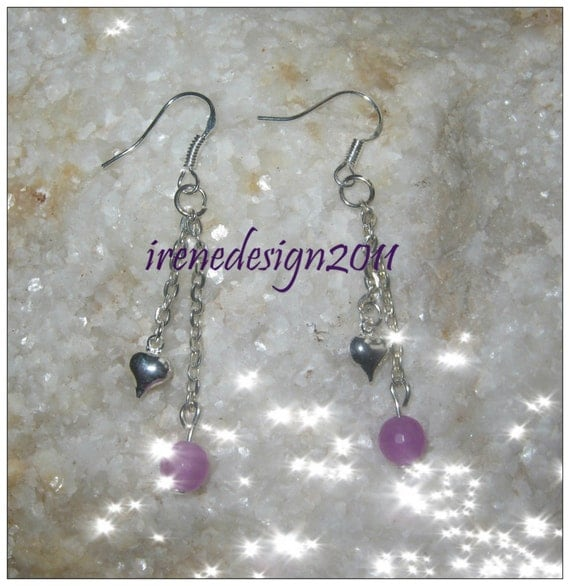 Handmade Silver Earrings with Chain, Pink Facetted Alexandrite & Heart by IreneDesign2011