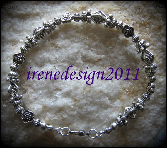 Beautiful Handmade Silver Bracelet with Roses