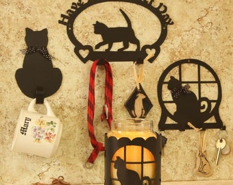 Cat Lovers  Purrfect Day 2-Hook Holder, Key Rack, Pair of single hooks, and Yankee type candle holder