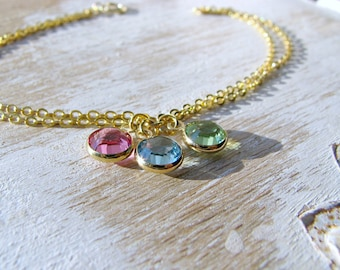 Personalized Birthstone Bracelet,14k gold filled Birthstone Bracelet,Three Birthstones,Mother's Bracelet,Grandmother,Bridesmaid Gifts,Bridal