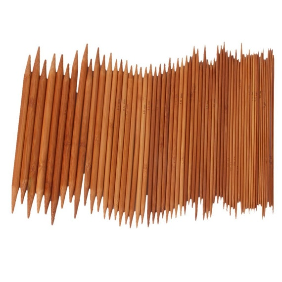 75 Pieces 15 Sets 7.87 inches Bamboo Knitting Needles Double