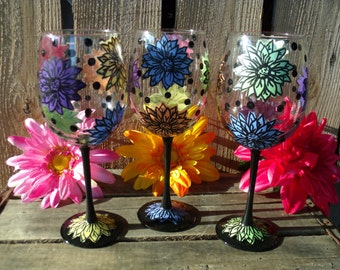 Hand painted wine glasses flowers