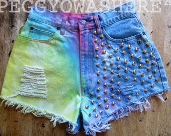 Vintage high waist cut off denim shorts half pastel rainbow boho festival round silver stud