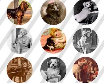INSTANT DOWNLOAD Art 4x6 Vintage Dogs Bottle Cap Images Digital Collage Sheet
