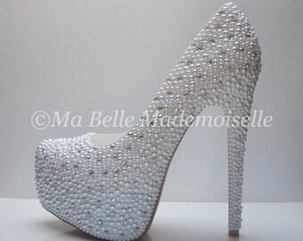 Pearl & Crystal Wedding Shoe's  HIGH Platform
