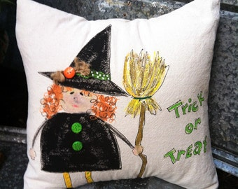Whimsical, Halloween, Witch, Fall Decor, Seasonal Decorations, Trick or Treat, Pillow Cover, No. 351