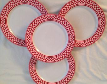 Red Checkered International Tableworks Dinner Plates