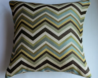 Chevron  Pillow Cover in Mineral-  Aqua, Lt. Green, Brown, Gold and Ivory  from Jaclyn Smith Home Collection with Trend Fabrics
