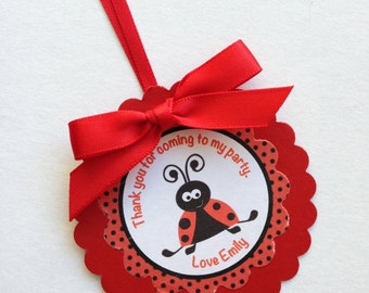 Ladybug Personalised Party Bag Thank You Tags