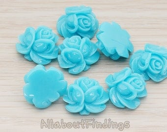 CBC214-01-TU // Turquoise Colored Full Bloom Rose Flower Flat Back Cabochon, 4 Pc
