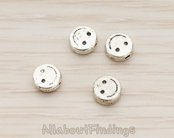 BDS951-AS // Glossy Antique Silver Plated Smiley Face Round Metal Bead, 4 Pc