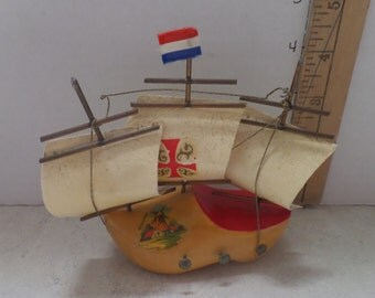 """5"""" tall wooden ship in hand painted wooden shoe, Unique, will hang on wall,  1970"""