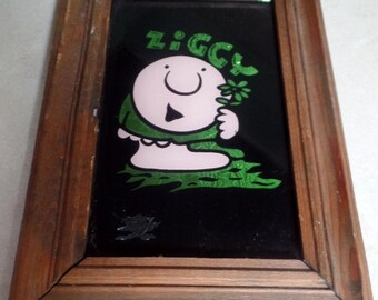 1980s ZIGGY Mirrored back plaque, with wood frame.  7 .5 x 10.5""