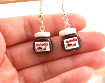 Nutella Jar Earrings, Polymer Clay Miniature Food Jewelry, Nutella Fan, Tiny Nutella Dangles, Perfect Gift Nutella's Fan, Chocolate Gift