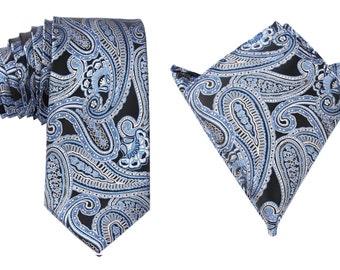 Matching Necktie + Pocket Square Combo Designer Style Paisley Blue (X107-T85+PS) Men's Handkerchief + Neck Tie 8.5cm Ties Neckties Wedding