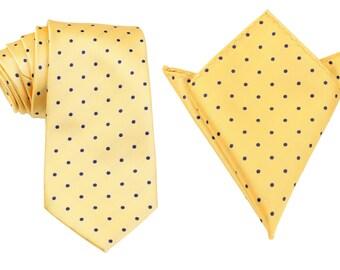 Matching Necktie + Pocket Square Combo Yellow with Polka Dots (X003-T85+PS) Men's Handkerchief + Neck Tie 8.5cm Ties Neckties Wedding