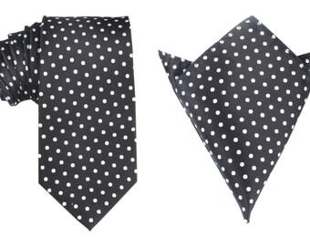 Matching Necktie + Pocket Square Combo Royal Black White Polka Dots (X723-T85+PS) Men's Handkerchief + Neck Tie 8.5cm Ties Neckties Wedding