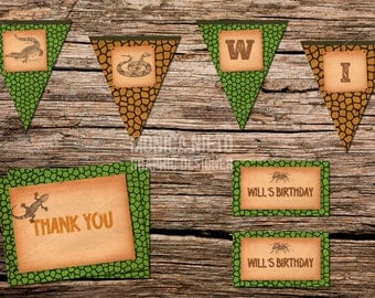 Reptile Thank you card, Favor Tags & Party Banners