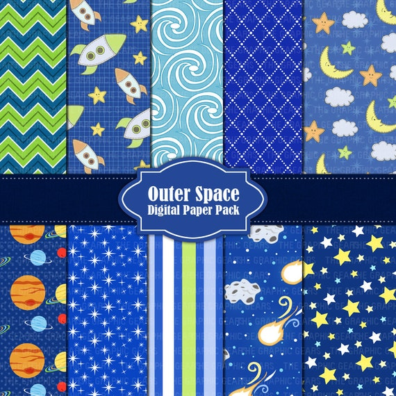 outer space digital paper pack or scrapbook paper by