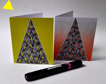 Duo of cards 'FIR': yellow and Orange... Envelopes included...