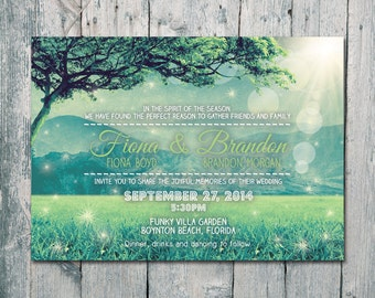 Digital - Printable Files - Happy Evergreen Mountain Wedding Invitation and Reply Card Set - Wedding Stationery - ID407