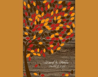Large Fall Wedding Signature Tree. Personalized Wedding Tree, Guest Book Alternative, Rustic Wedding Tree 200 Leaves