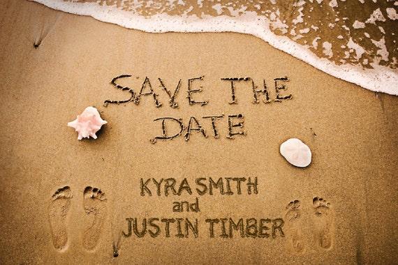 Sandy Beach Wedding Save the Dates Footprints in the Sand – Save the Date Cards Beach Wedding