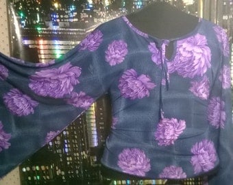 Vintage Purple Flower Whimsical 1970s Bell Sleeve Hippie Top