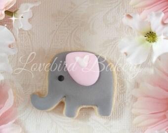 Sweet Grey and Pink Baby Elephant Cookies - 1 Dozen (12) Baby Shower Favor - Birthday Gift - Baby Girl
