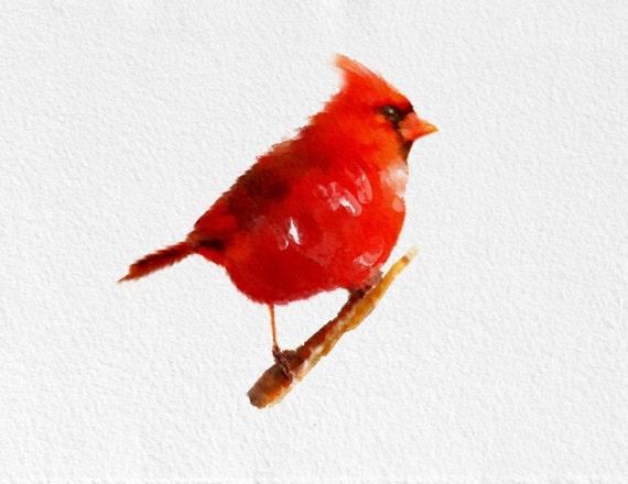 Cardinal Art Print Bird Black Grey White Red Home Decor