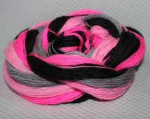 Peppy pink  of the hand dyed self striping sock yarn