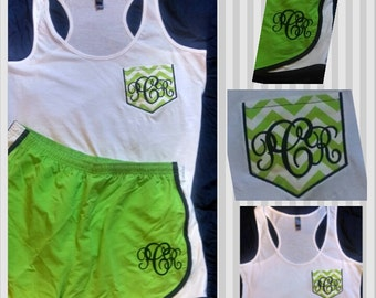 Tank Top Set/Chevron Monogrammed Faux Pocket Tank & Short Set/Fitness Runner/Vacation/Cheerleader/Dance/Bridesmaids gifts/Brides Clothes