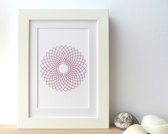 Hand embroidered card lilac rosette pattern-craft card-writing-decoration-contemporary textile design-mandala-gift-birthday-art card