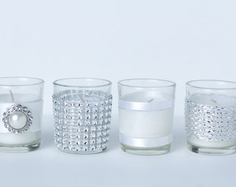 Set of 12 Votive Candles Elegant Silver Wedding