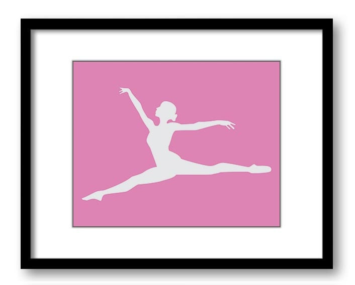 Ballerina Ballet Pirouette Pink White Silhouette Art Child Art Print Girls Pink Kids Room Wall Art D