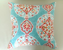 Linen Cushions Boho Pillows, Boho Cushion, Bohemian Style Cushions, Turquoise Cushions Aqua Red Orange Pink Toss Pillow, Lumbar Pillow