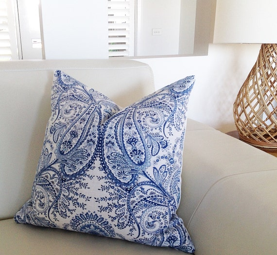 cushions pillows paisley blue white cushions linen floral. Black Bedroom Furniture Sets. Home Design Ideas