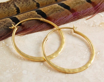 Small Gold Round Hoop Earrings - Hammered Hoops