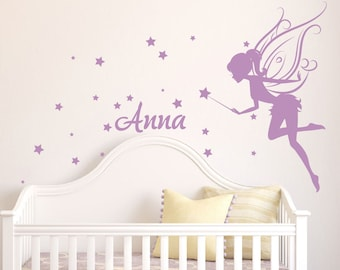 Fairy Wall Art baby girl room decor fairy wall decal w/ blowing stars vinyl