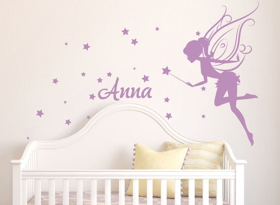 baby girl room decor fairy wall decal w blowing stars wand