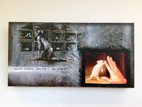"Hand Embellished Canvas Print - ""Sisters"" - Animal liberation art."