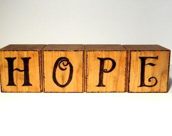 Rustic Hope Decorative Wooden Block Set