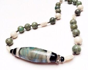 Lampwork beaded necklace, strand necklace, seafoam green, blue, black, cream, Galaxy, OOAK