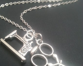 Sewing Machine And Scissors Necklace