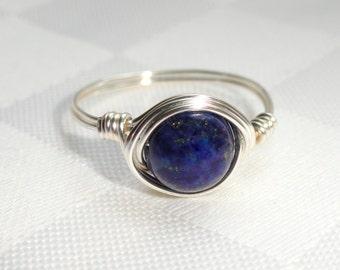 Lapis Lazuli wire wrapped ring, Silver lapis lazuli wire wrapped ring, Gemstone ring, Blue stone ring