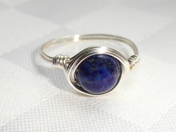 lapislazuli draht gewickelt blauer stein ring edelstein. Black Bedroom Furniture Sets. Home Design Ideas