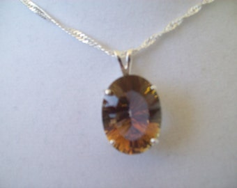 Oval Golden Mystic Topaz Pendant in Sterling Silver 18x13mm